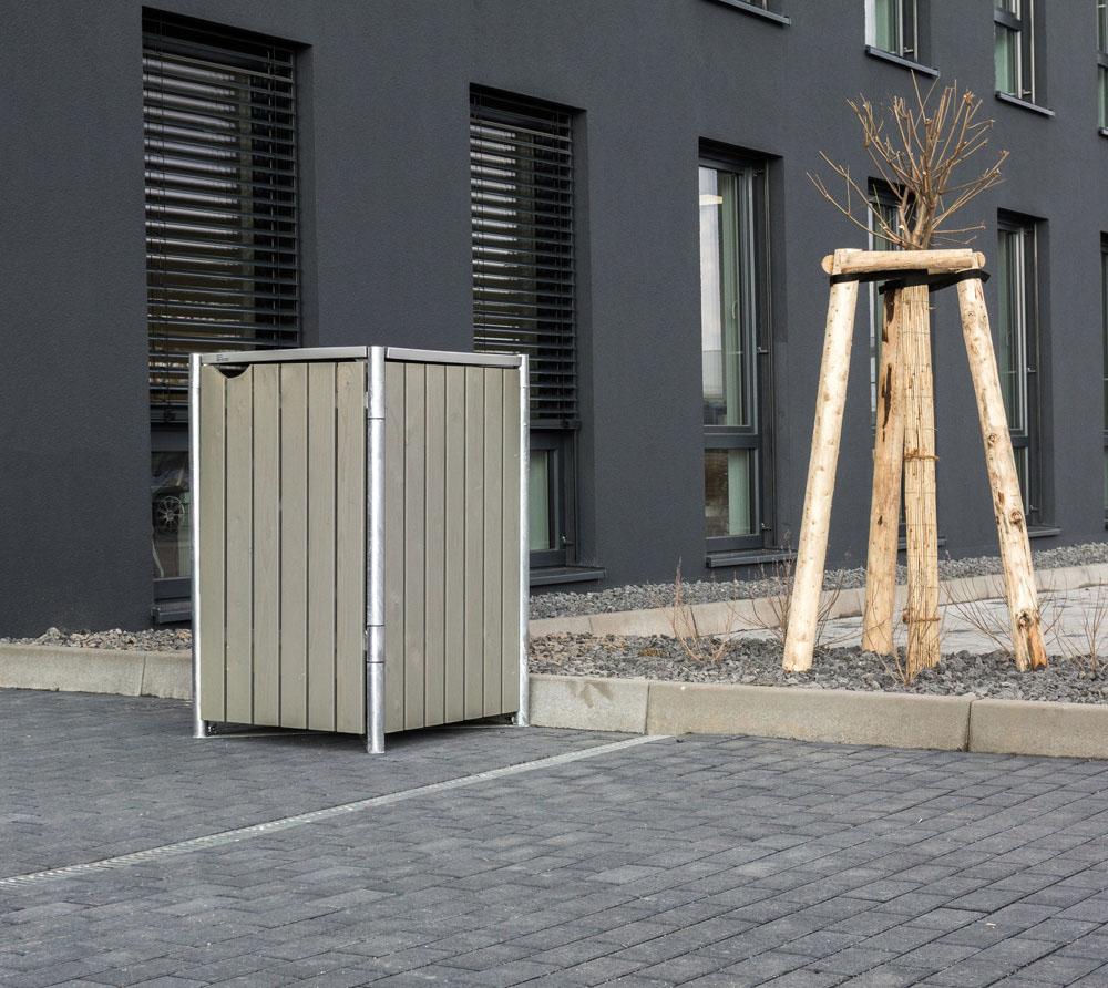 Hide Mülltonnenbox, Mülltonnenverkleidung; Für 1 Mülltonne 240l Volumen; Natur Grau