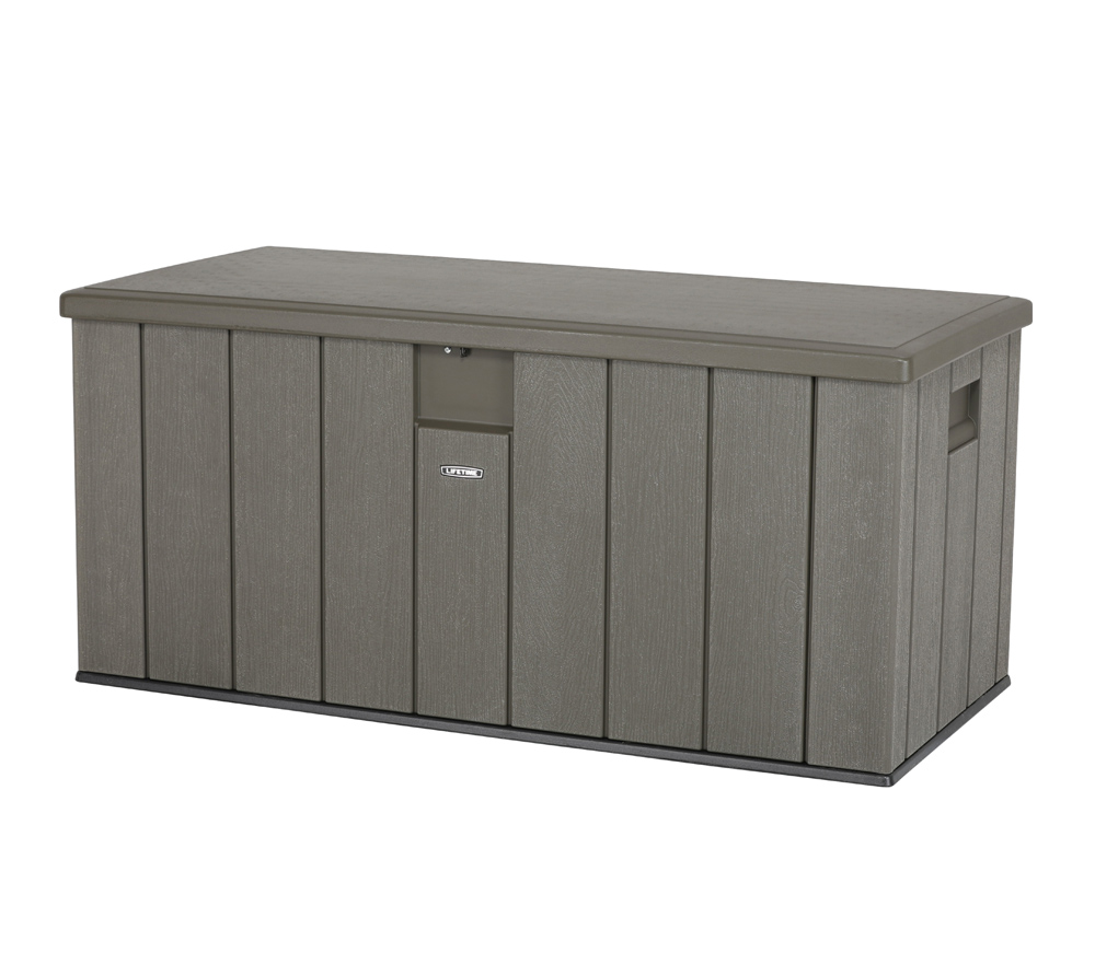 lifetime xxl kissenbox gartenbox grau gartentruhe mit 570l stauraum ebay. Black Bedroom Furniture Sets. Home Design Ideas