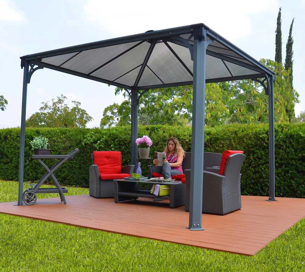 palram aluminium gazebo pavillon palermo 3000 295x295 cm mygardenhome. Black Bedroom Furniture Sets. Home Design Ideas