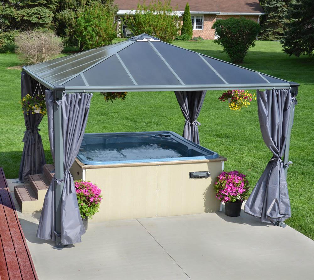 palram aluminium gazebo pavillon palermo 3600 360x360 cm mygardenhome. Black Bedroom Furniture Sets. Home Design Ideas