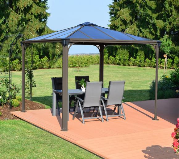 palram aluminium gazebo pavillon palermo 3000 taupe 295x295 cm mygardenhome. Black Bedroom Furniture Sets. Home Design Ideas