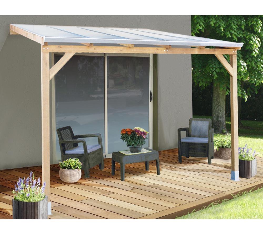 Palram Terrassendach Holz Terrassenuberdachung Juniper 300x300 Cm