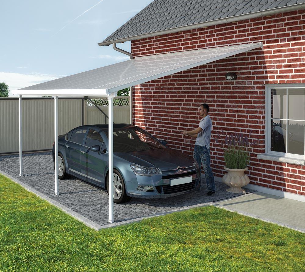 palram carport 300x305 cm wei inkl regenrinnen und befestigungskit mygardenhome. Black Bedroom Furniture Sets. Home Design Ideas