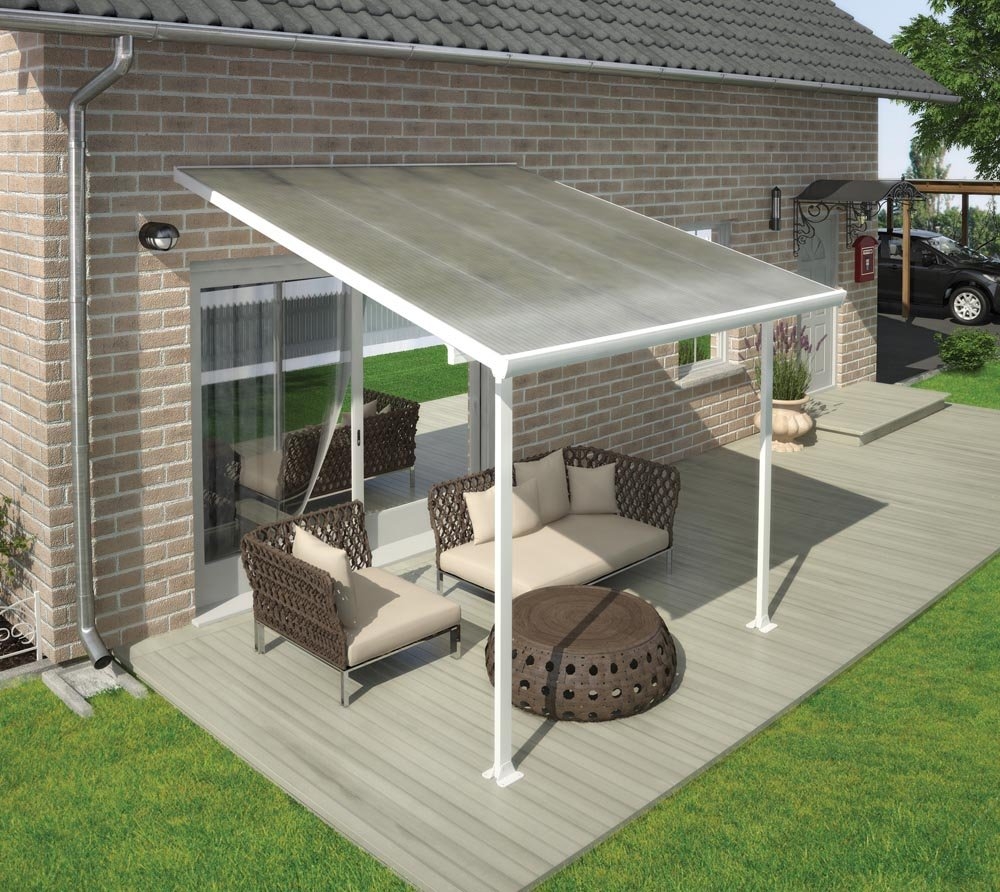 palram terrassendach terrassen berdachung 300x305 wei inkl regenrinnen und befestigungskit. Black Bedroom Furniture Sets. Home Design Ideas