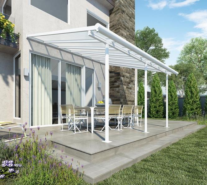 palram terrassendach balkondach sierra 230x460 cm wei inkl regenrinnen und befestigungskit. Black Bedroom Furniture Sets. Home Design Ideas