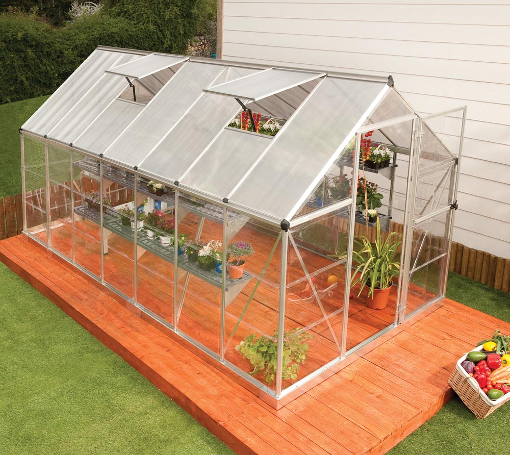 palram aluminium gew chshaus tomatenhaus set hybrid 6x14 silber 185x430 cm ebay. Black Bedroom Furniture Sets. Home Design Ideas