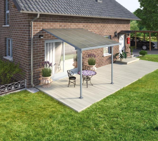 palram carport 300x305 cm grau inkl regenrinnen und befestigungskit mygardenhome. Black Bedroom Furniture Sets. Home Design Ideas