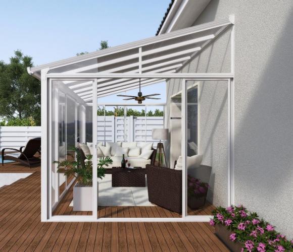 Palram Terrassendach Wintergarten Sanremo 300x430 Weiss Mygardenhome