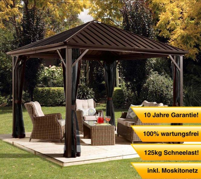 sojag aluminium pavillon gazebo dakota 8x8 inkl moskitonetz 244x244 cm mygardenhome. Black Bedroom Furniture Sets. Home Design Ideas