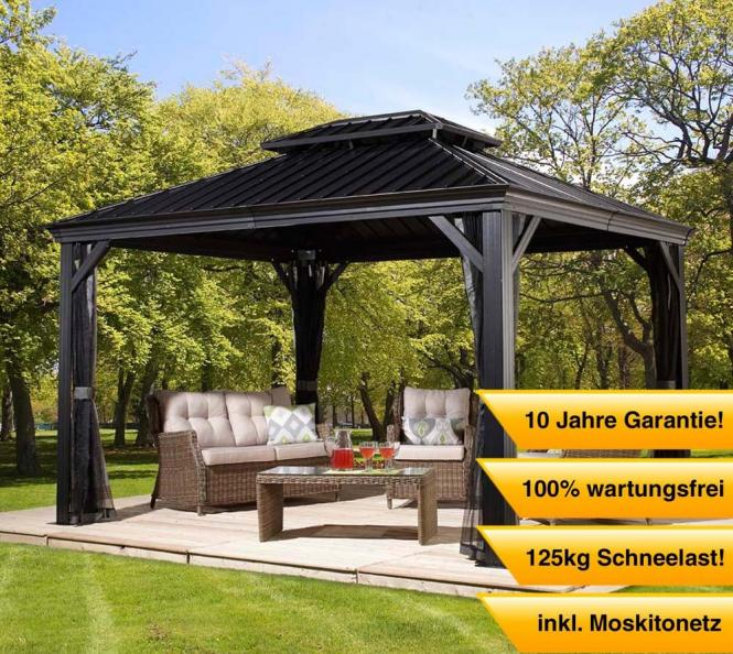 sojag aluminium pavillon gazebo messina 10x12 inkl moskitonetz 298x363 cm mygardenhome. Black Bedroom Furniture Sets. Home Design Ideas