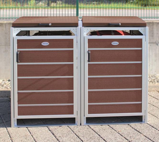 prewood wpc mülltonnenbox, mülltonnenverkleidung 120l braun; 70x136