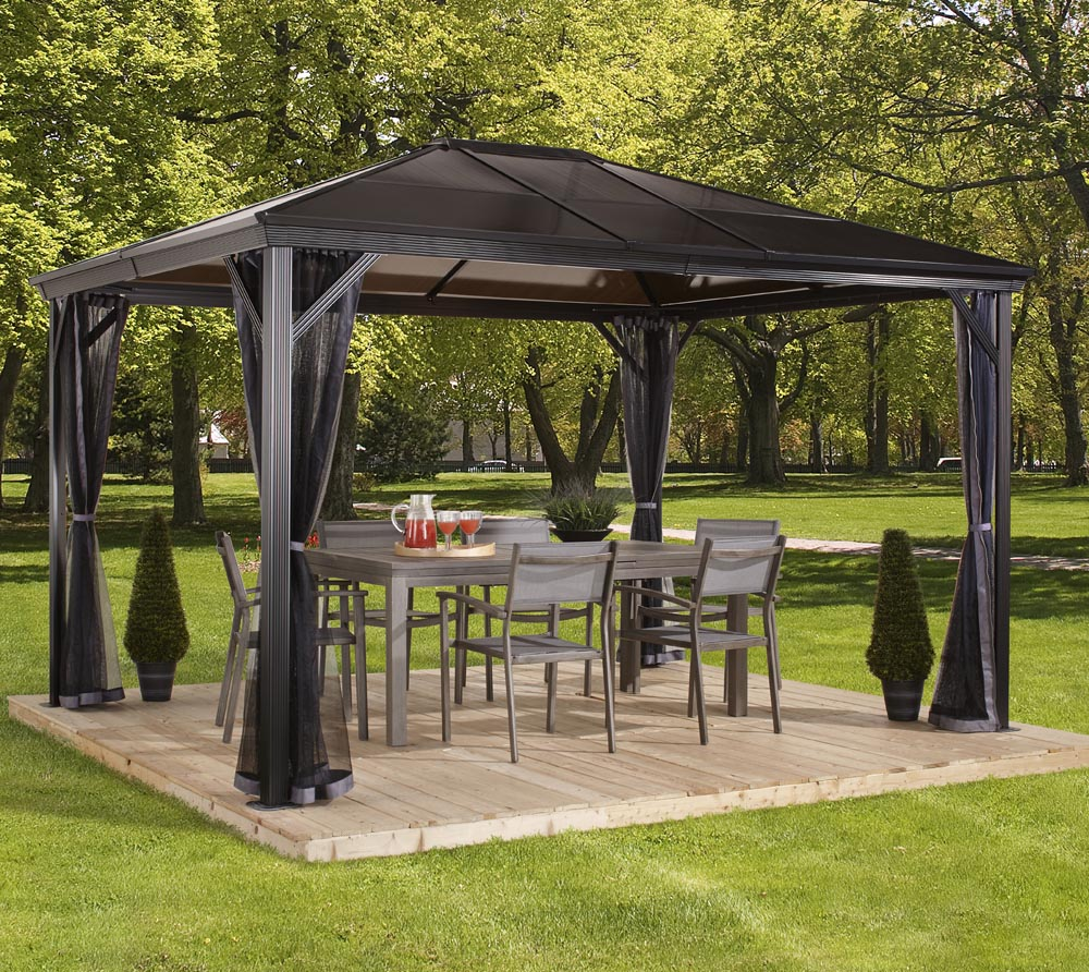 sojag aluminium pavillon gazebo verona 10x10 inkl moskitonetz 298x298 cm mygardenhome. Black Bedroom Furniture Sets. Home Design Ideas