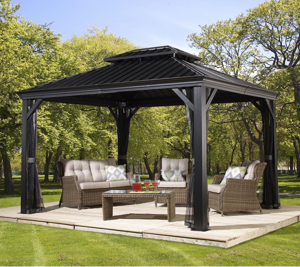 sojag aluminium pavillon gazebo messina 10x12 inkl moskitonetz 298x363 cm mygardenhome. Black Bedroom Furniture Sets. Home Design Ideas