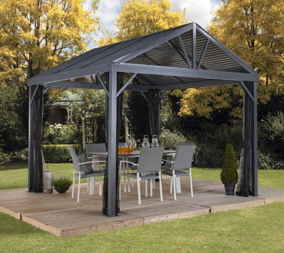 sojag aluminium carport pavillon south beach 12x12 inkl moskitonetz 363x363 cm mygardenhome. Black Bedroom Furniture Sets. Home Design Ideas