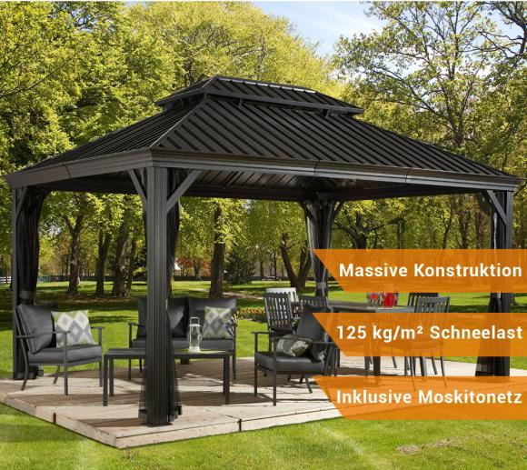 sojag aluminium pavillon gazebo messina 12x16 inkl moskitonetz 363x483 cm mygardenhome. Black Bedroom Furniture Sets. Home Design Ideas