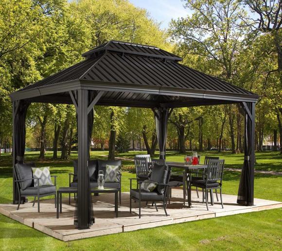 sojag aluminium pavillon gazebo messina 12x16 inkl moskitonetz 363x483 cm mygardenhome. Black Bedroom Furniture Sets. Home Design Ideas
