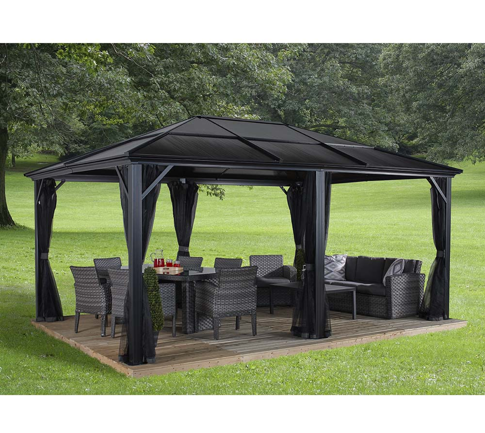 sojag aluminium pavillon gazebo meridien 12x16 inkl moskitonetz 365x485 cm mygardenhome. Black Bedroom Furniture Sets. Home Design Ideas