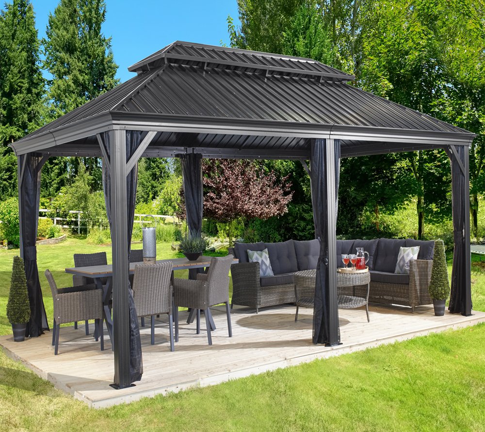 sojag aluminium pavillon gazebo messina 12x20 inkl moskitonetz 363x598 cm. Black Bedroom Furniture Sets. Home Design Ideas