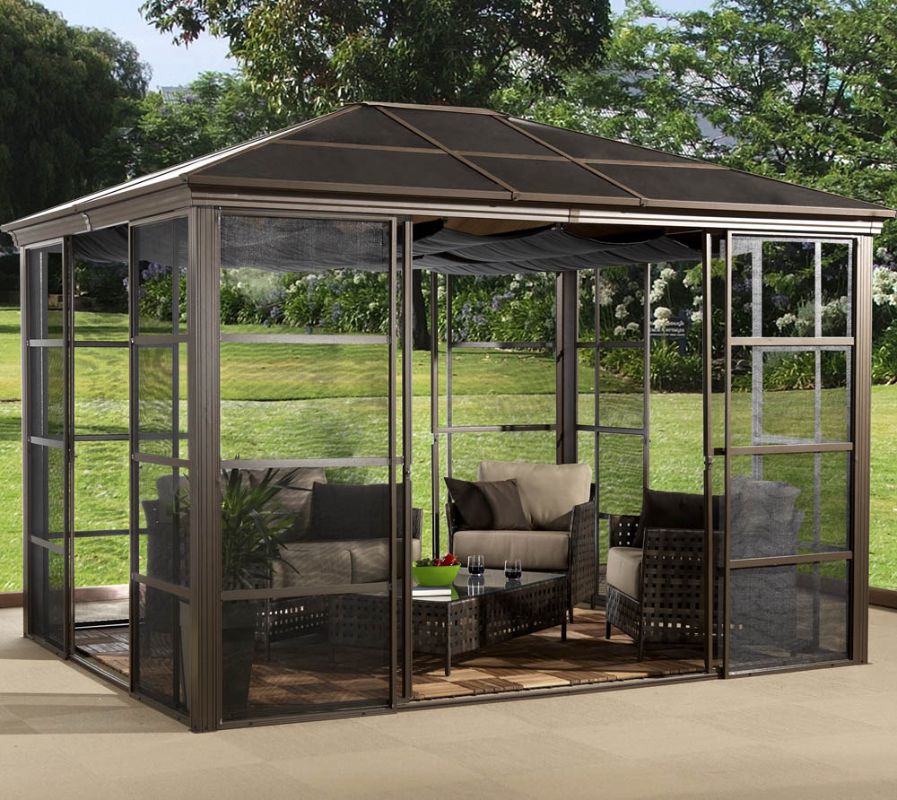 sojag aluminium pavillon castel 10x12 inkl sonnenschutz 362x298 cm mygardenhome. Black Bedroom Furniture Sets. Home Design Ideas