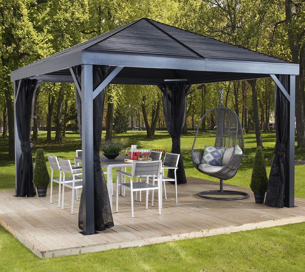 sojag aluminium pavillon gazebo south beach 12x12 inkl moskitonetz 363x363 cm ebay. Black Bedroom Furniture Sets. Home Design Ideas