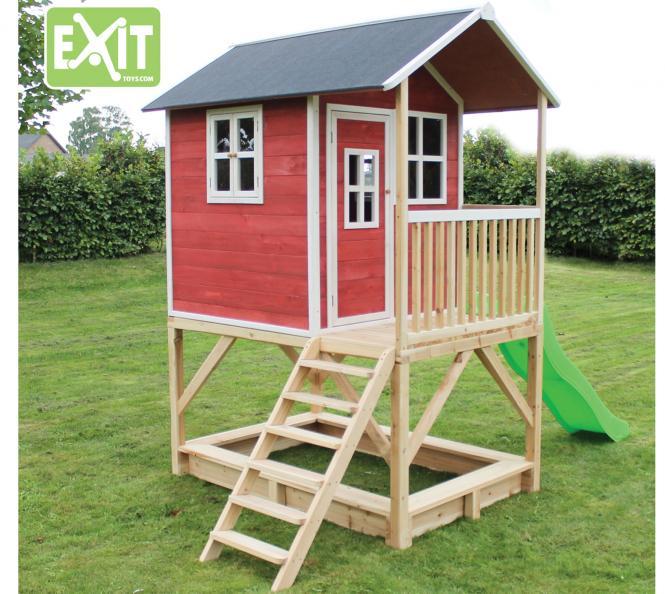 exit kinderspielhaus loft 500 rotbraun inkl veranda rutsche mygardenhome. Black Bedroom Furniture Sets. Home Design Ideas
