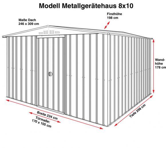 Globel Industries Metallgerätehaus 8x10 anthrazit, 234x299 cm ...
